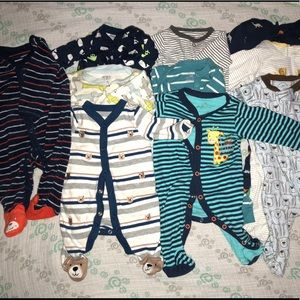 12 pc baby boy sleeper bundle!